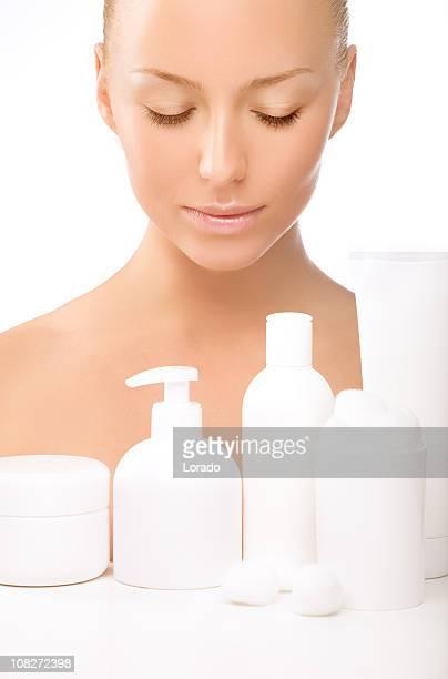 looking at the cosmetics beautiful woman