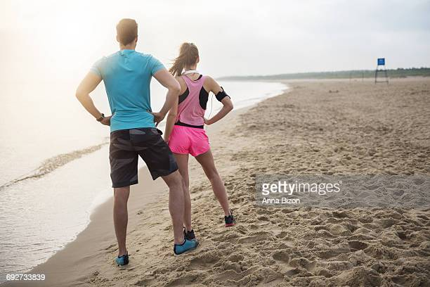 Looking at their jogging destination. Gdansk, Poland