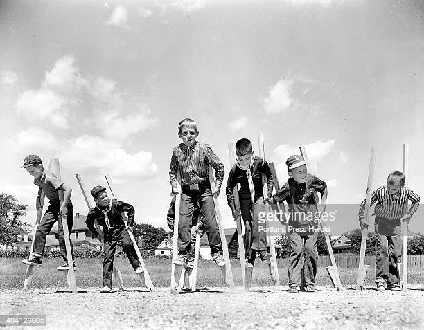 July 26 1960 File photo Pack 39 Cub Scouts enjoy stilt walking one of the younger generation's oldest pastimes Members include Wallace Flaherty...