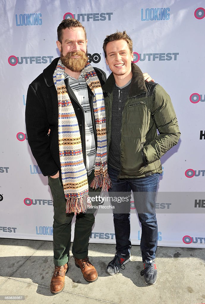 'Looking' Creator Michael Lannan and Actor Jonathan Groff attend Outfest Queer Brunch at Sundance on January 19 2014 in Park City Utah