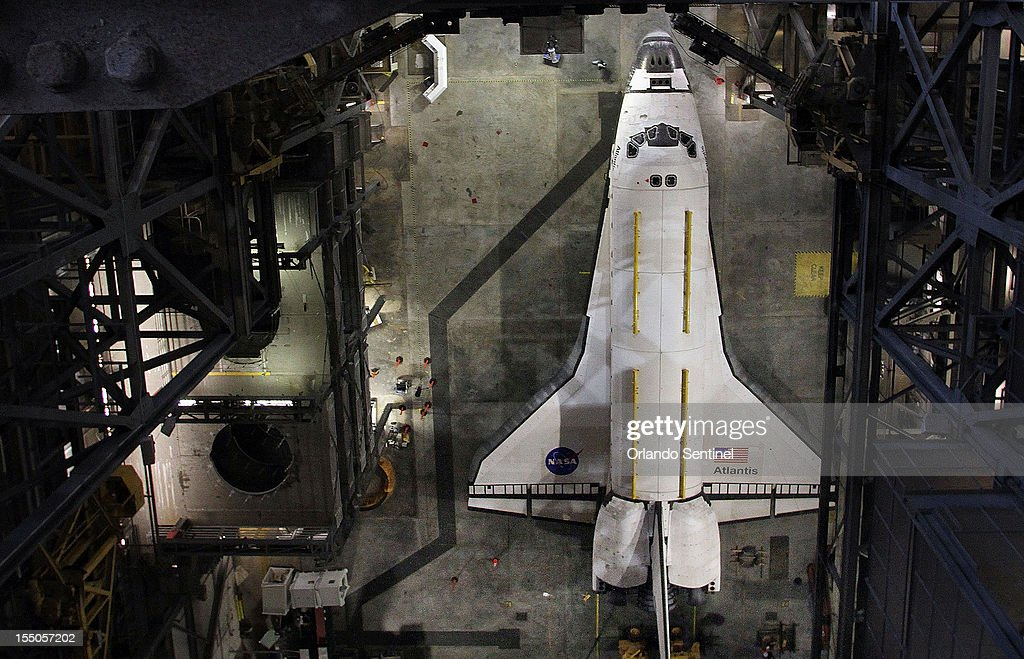 Looking down from the 16th floor of the Vehicle Assembly Building, space shuttle Atlantis OV-104 is parked Wednesday, October 31, 2012 at the Kennedy Space Center in Florida. On Friday, NASA will move the orbiter to it's new home at the Kennedy Space Center Visitors Complex.