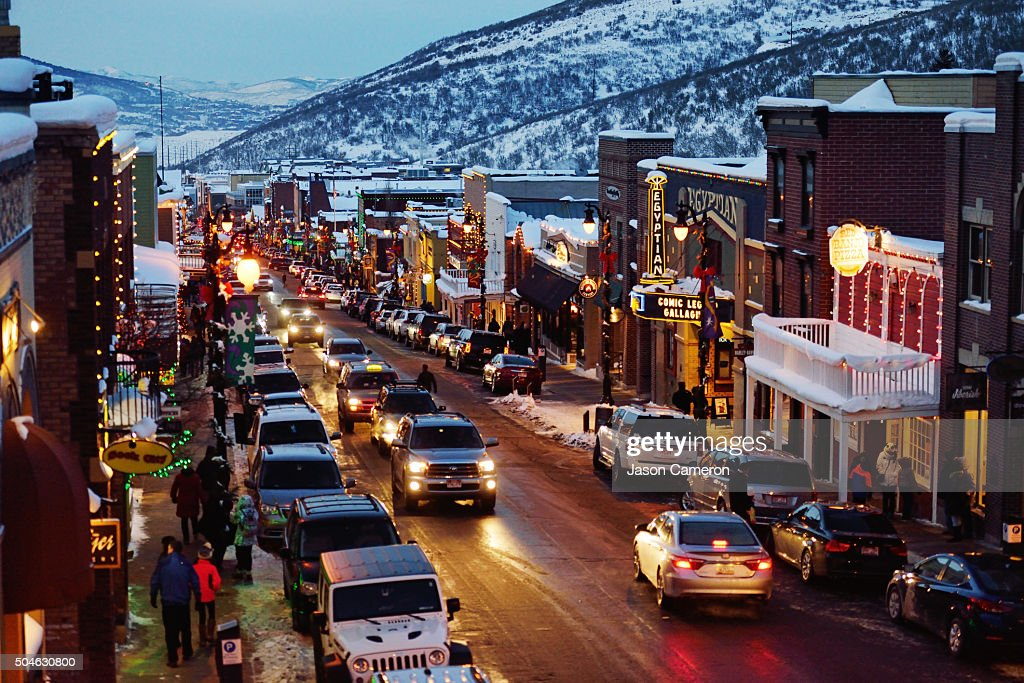 Park City main street in the evening.