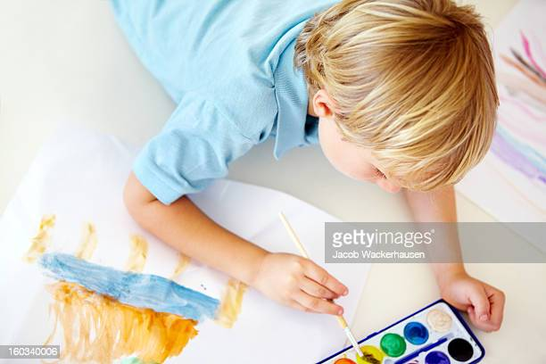 Looking down on a young artist
