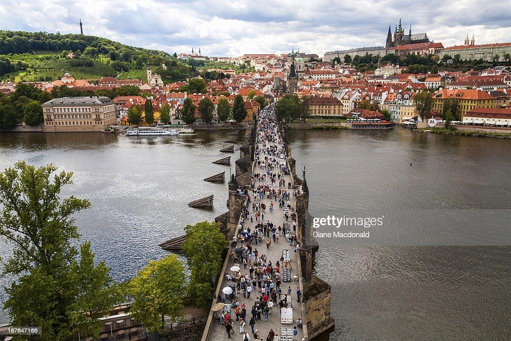 Looking down on the Charles Bridge, Prague