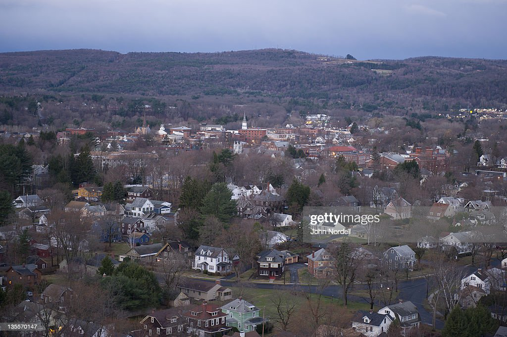 Looking down on the former industrial town of Greenfield, Massachusetts