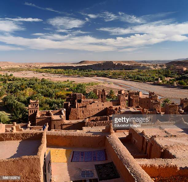 Looking down on the Ounila River Valley from the top of Ait Benhaddou near Ouarzazate Morocco