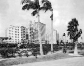 Looking northwest from Bayfront Park to Biscayne Bouleveard at Flagler Street in Miami with the McAllister Hotel at left front Miami Florida 1925