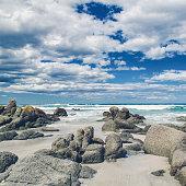 Looking out across rocks towards the ocean