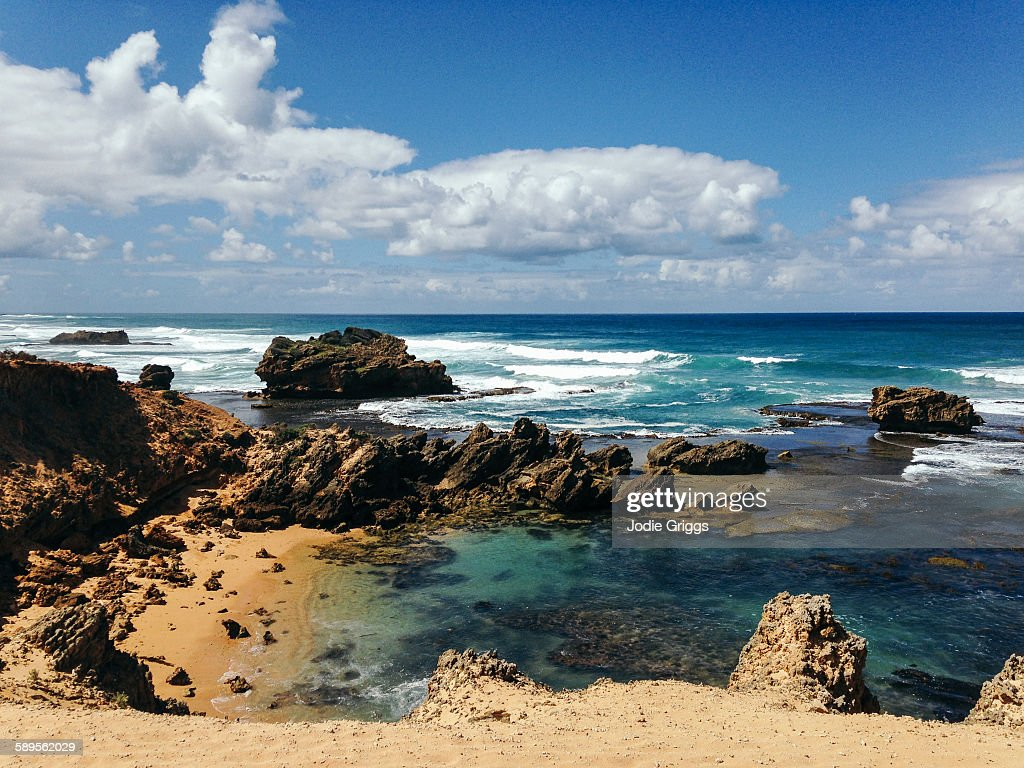 Looking out across rugged sandstone coastline