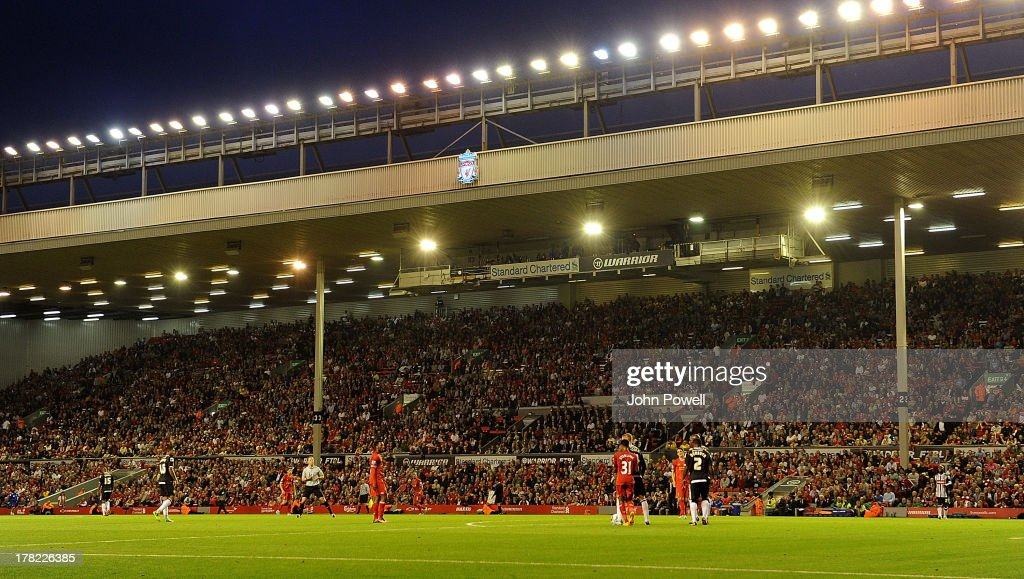 Looking out onto a floodlit pitch during the Capital One Cup second round match between Liverpool and Notts County at Anfield on August 27 2013 in...