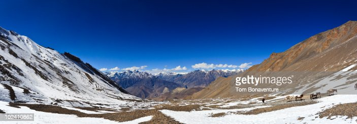 Looking out to Mustang district from Thorung La  : Stock Photo