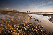 Looking Out Towards Kimmeridge Bay with Family Walking Dog