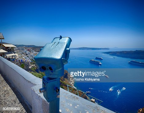 Looking over Fira Village in Santorini, Greece : Foto de stock