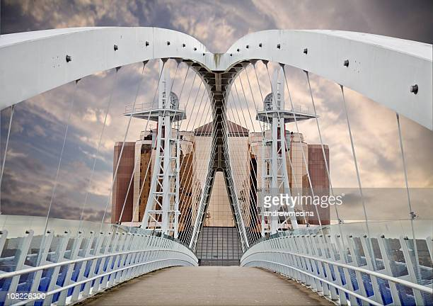 Looking Over Millenium Bridge in Salford, Manchester