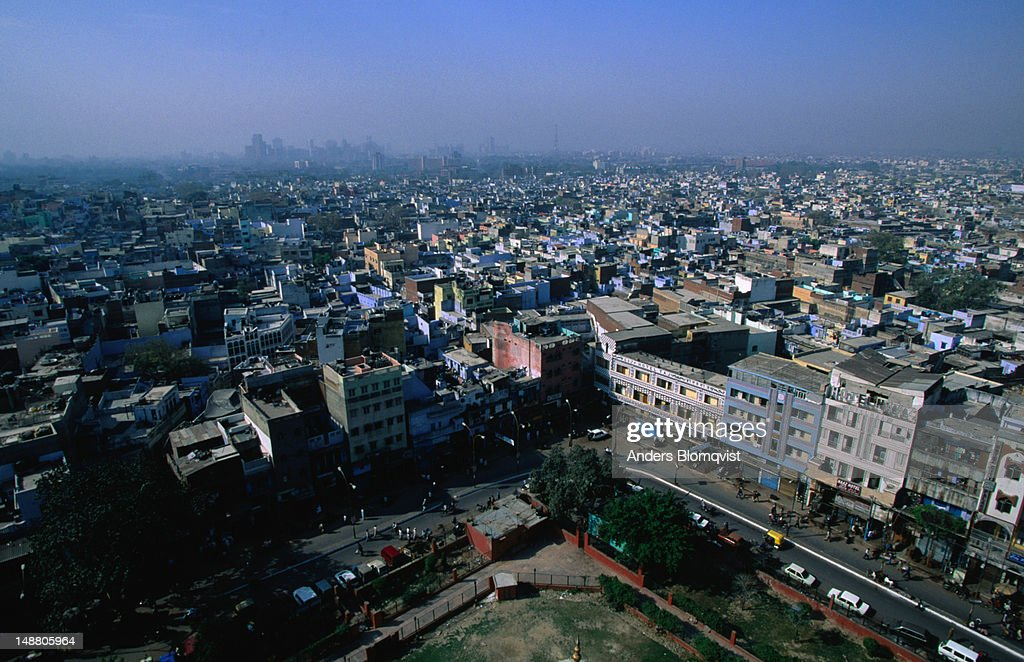Looking over the rooftops of Old Delhi, toward New Delhi, from the top of a minaret. : Stock Photo