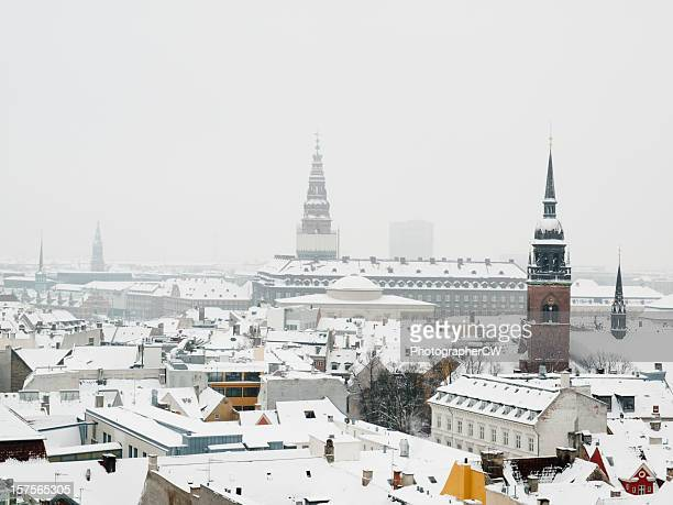 Looking over the snow covered roofs of Copenhagen