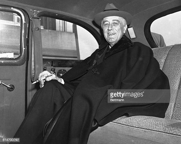 Looking tanned and fit President Franklin Delano Roosevelt arrives at the Capitol for his speech to the assembled members of Congress He told a...