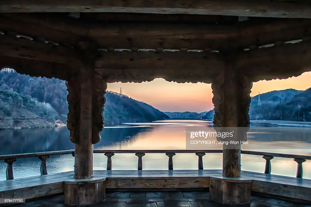 Mungyeong-si South Korea  city pictures gallery : Looking the sunset at the Korean traditional gazebo in the middle of ...