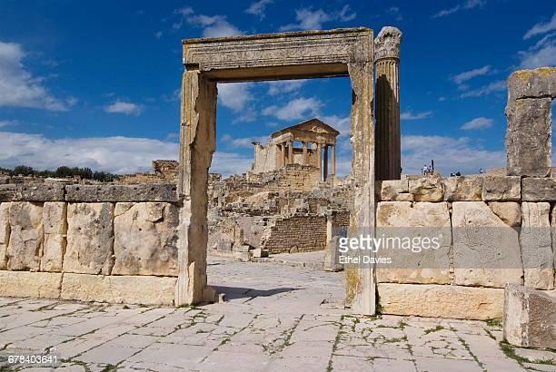 Looking towards the Capitolium (Temple to the three main gods), Roman ruin of Dougga, UNESCO World Heritage Site, Tunisia, North Africa, Africa