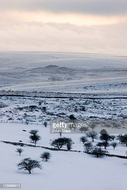 Looking towards the inner moorlands from Saddle Tor after heavy snow falls, Dartmoor, Devon, England, UK, February 2009