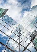Low angle of tall corporate glass building. Southwark, London