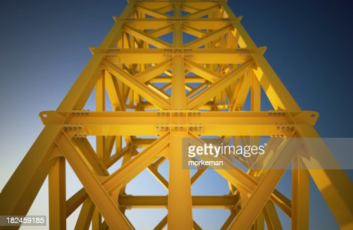 Looking up a  yellow steel frame construction