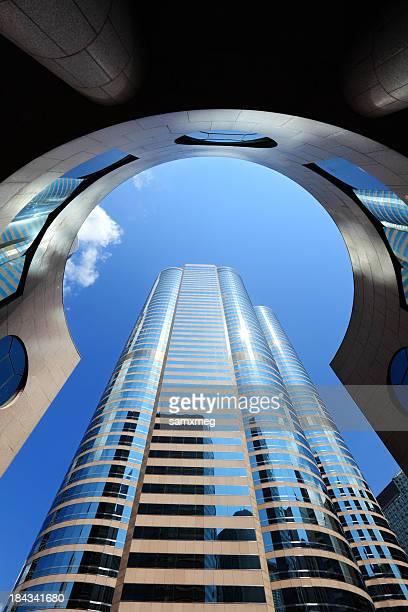 Looking up at a shiny building at Exchange Square, Hong Kong