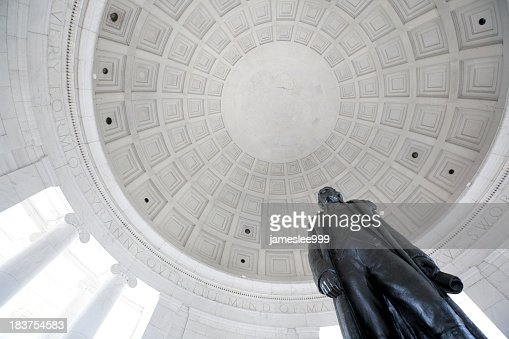 Looking up at Coppola and statue at the Jefferson Memorial