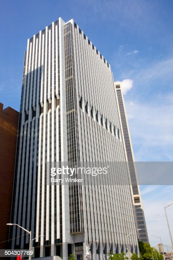 Looking up at Downtown Manhattan office tower