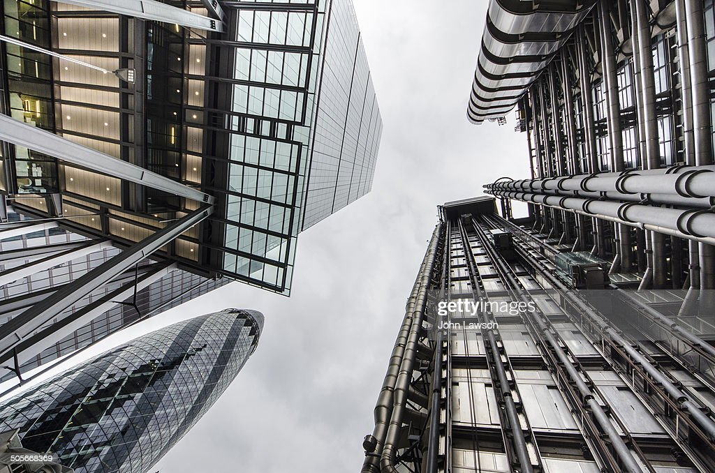 CONTENT] Looking up at some of the tall buildings in the City of London England UK On the left top of the picture is the Leadenhall Building a...