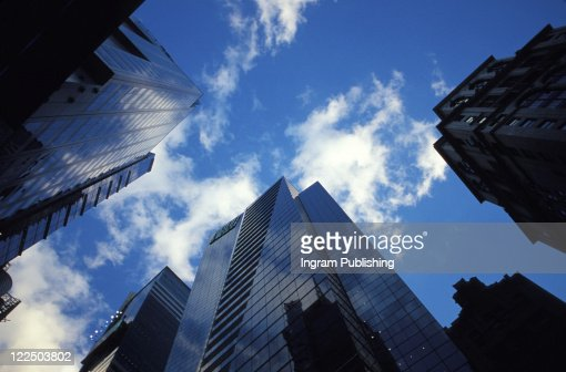 Looking Up At Urban Skyscrapers : Stock Photo
