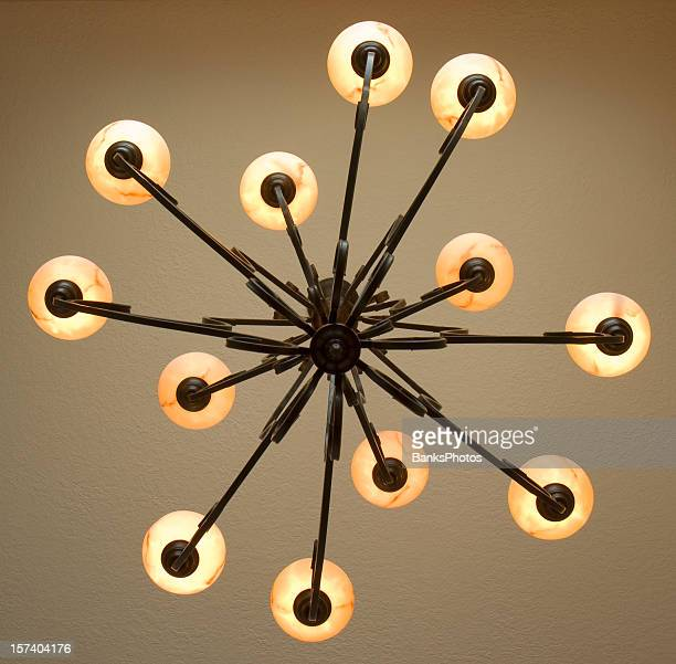 Looking Up at Wrought Iron Chandelier with Twelve Lamps