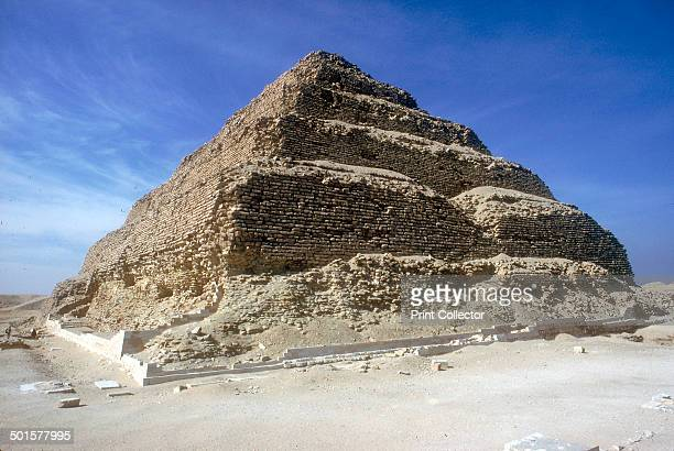Looking up from the foot of the Step Pyramid of King Djoser Saqqara Egypt 3rd Dynasty c2600 BC The pyramid was encased in white stone the remains of...