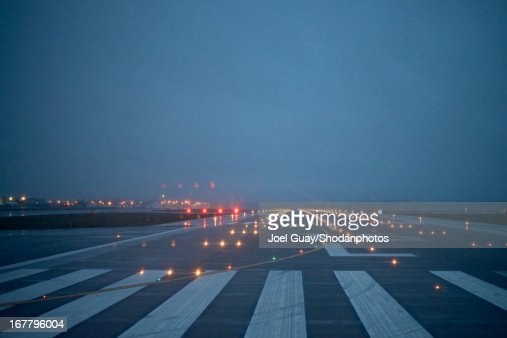 looking up runway  into the sky and runway ligh