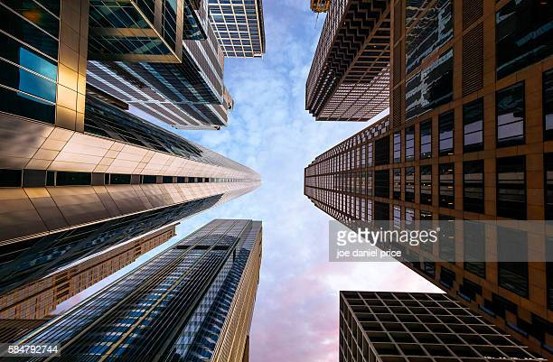 Looking Up, Skyscrapers, Hyatt Center, Chicago, Illinois, America