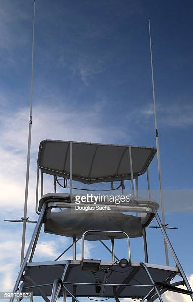 Lookout and navigation platform on top of recreational fishing boat