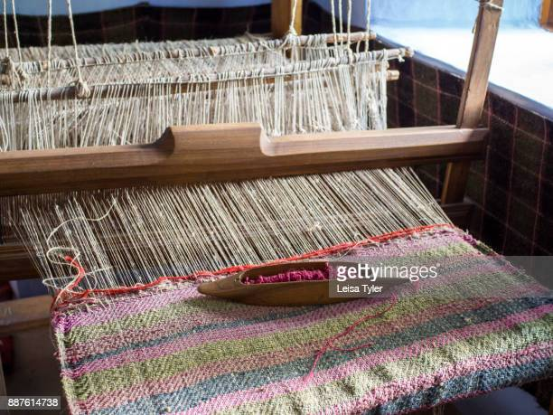 A loom set up in a traditional cottage in Old Orhei to show how people of the area used to live