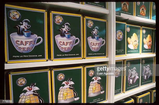 Looney Tunes character cookie jars are on display at the Warner Bros Studio store October 23 1996 in New York City The store originally a three floor...