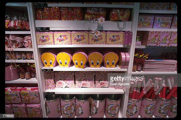 Looney Tunes merchandise is on display at the Warner Bros Studio store October 23 1996 in New York City The store originally a three floor specialty...