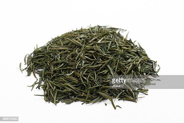 Loose-Leaf Jasmine Green Tea on White Background