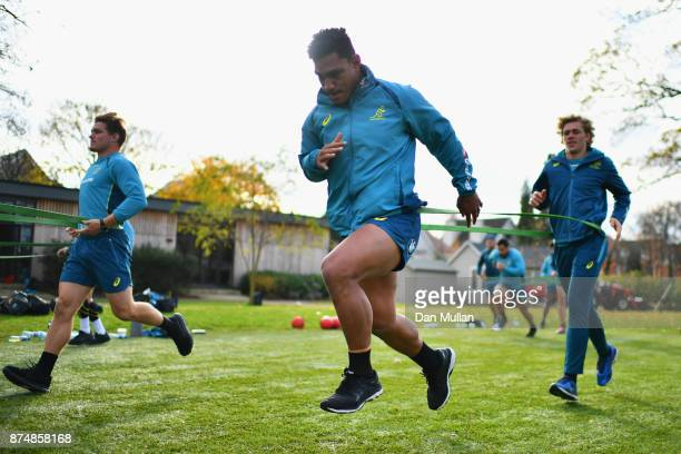 Lopeti Timani and Ned Hanigan of Australia performa drill during a training session at the Lensbury Hotel on November 16 2017 in London England...