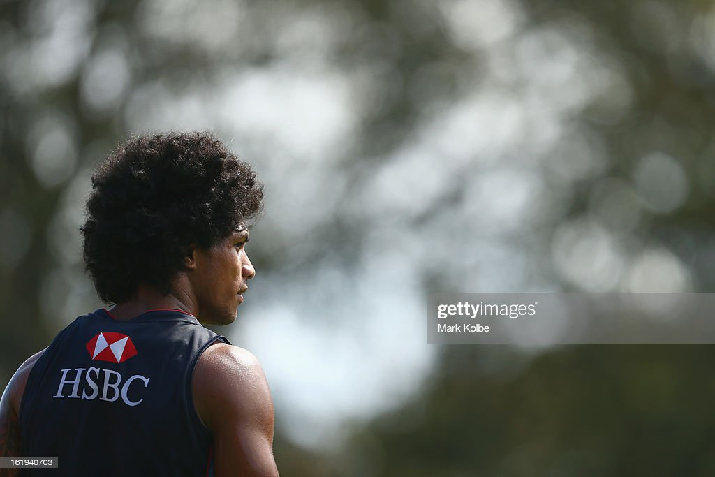 Lopeti Timani looks on during a Waratahs Super Rugby training session at Victoria Barracks on February 18, 2013 in Sydney, Australia.