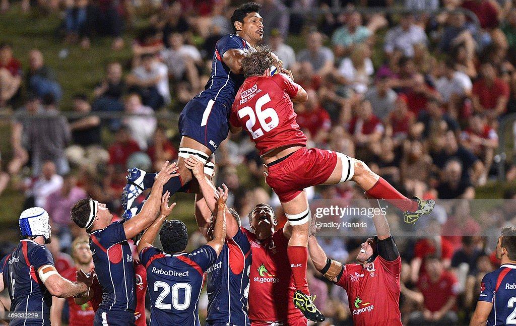 Lopeti Timani of the Rebels and Curtis Browning of the Reds compete at the lineout during the Super Rugby trial match between the Queensland Reds and the Melbourne Rebels at Ballymore Stadium on February 14, 2014 in Brisbane, Australia.