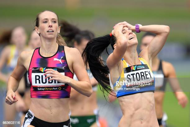 Lora Storey of NSW celebrates winning the Open Womens 800m race during day eight of the 2017 Australian Athletics Championships at Sydney Olympic...