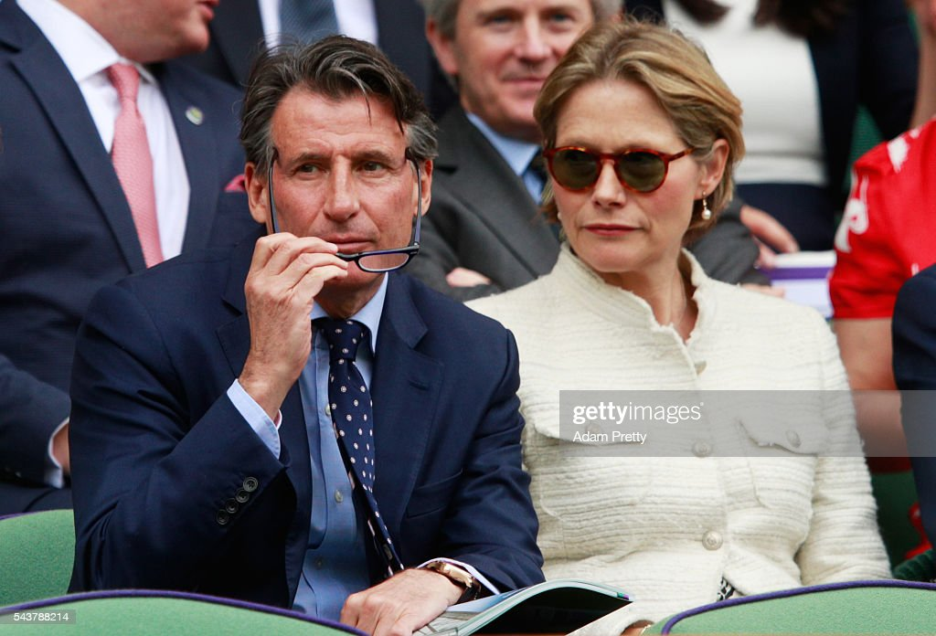 Lord and Lady Coe watch on from the stands in centre court as Julien Benneteau of France is in action during the Men's Singles second round match against Kei Nishikori of Japan on day four of the Wimbledon Lawn Tennis Championships at the All England Lawn Tennis and Croquet Club on June 30, 2016 in London, England.