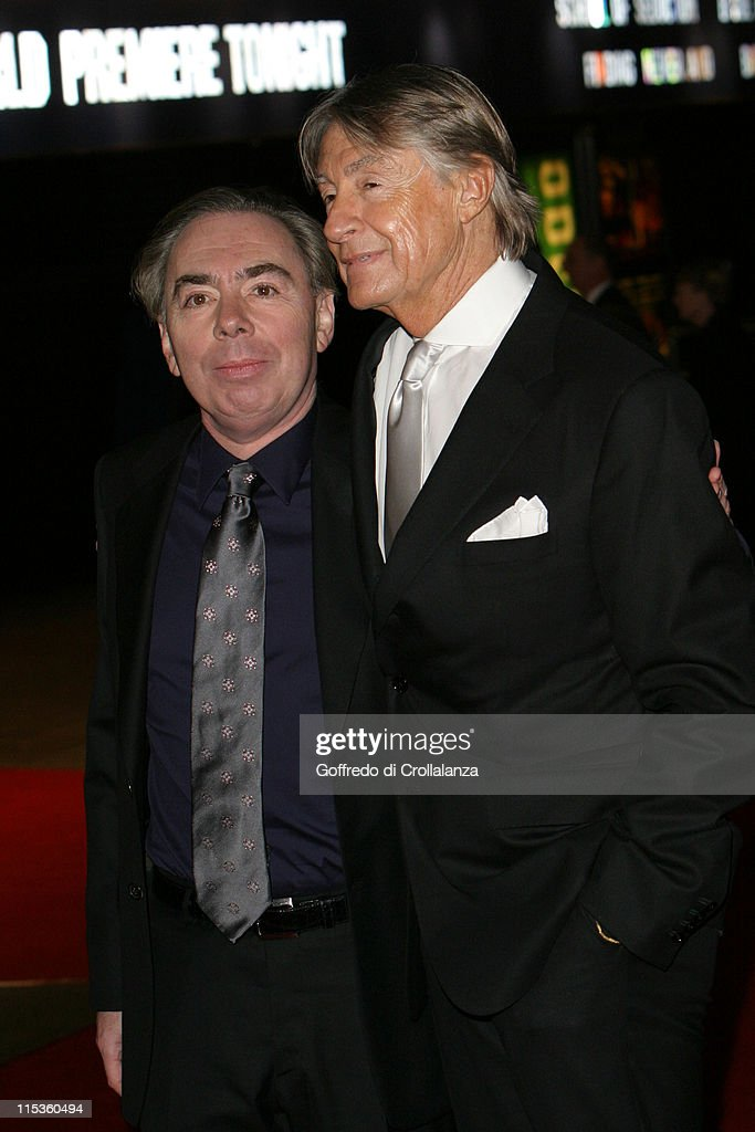 Lord Andrew Lloyd Webber and Joel Schumacher during 'The Phantom of the Opera' London Premiere Arrivals at Leicester Square in London England Great...