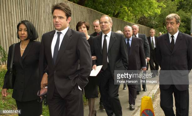 Lord Archer and family and friends arrive at the Parish church of St Andrew and St Mary in Grantchester Cambridgeshire for the memorial service of...