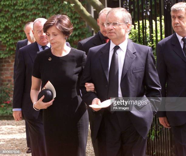 Lord Archer and his wife Mary leave their home on foot to go to the Parish church of St Andrew and St Mary in Grantchester Cambridgeshire for the...