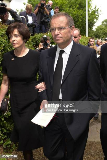 Lord Archer and wife Mary arrive at at the Parish church of St Andrew and St Mary in Grantchester Cambridgeshire for the memorial service of Archer's...