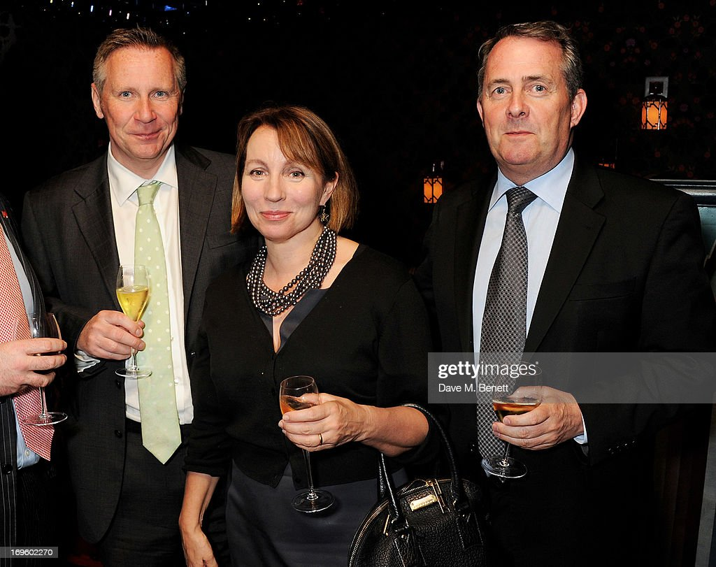 Lord Black, Sarah Sands and Liam Fox MP attend the launch of 'The New Digital Age: Reshaping The Future Of People, Nations and Business' by Eric Schmidt and Jared Cohen, hosted by Jamie Reuben, at Loulou's on May 28, 2013 in London, England.